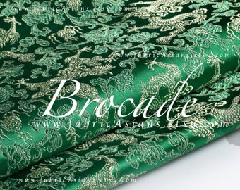 Green Brocade Fabric Dragon fabric by the yard