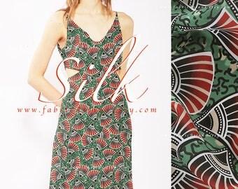 ethnic fabric by the yard green silk crepe - achat crepe de soie au metre