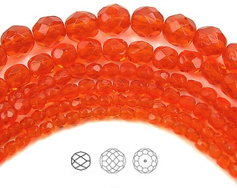 12mm (34pcs) Hyacinth, Czech Fire Polished Round Faceted Glass Beads, 16 inch strand