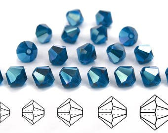 Dark Aqua AB coated, Czech MC Bicone Bead (Rondell, Diamond Shape) in 3mm, 4mm and/or 6mm, Dark Blue AB Color
