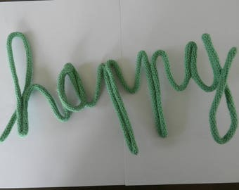"""Word """"Happy"""" Knitting with wire"""