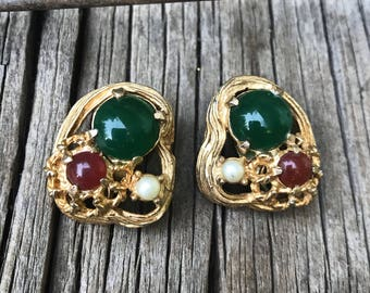 Vintage Hattie Carnegie Jeweled Clip On Earrings