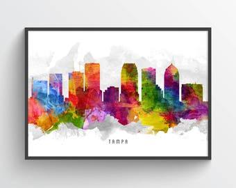 Tampa Skyline Poster, Tampa Print, Tampa Art, Tampa Decor, Home Decor, Gift Idea, USFLTA13P