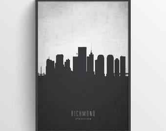 Richmond Skyline Poster, Richmond Cityscape, Richmond Art, Richmond Art Print, Richmond Decor, Home Decor, Gift Idea, USVARI19P