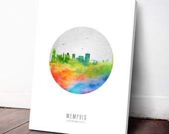 Memphis Skyline Canvas Print, Memphis Cityscape, Memphis Art, Memphis Decor, Home Decor, Gift Idea, USTNME20C