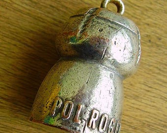 Vintage 1950s Pol Roger silver-plated advertising  champagne cork pendant/keychain
