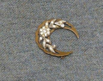 Gold Crescent Moon Vintage Costume Brooch
