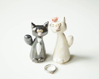 Wedding Cake Topper, Cat Cake Topper, Wedding Cake Decor, Cat Couple, Miniature Cat, Ceramic Cat, Handpainted Cake Topper