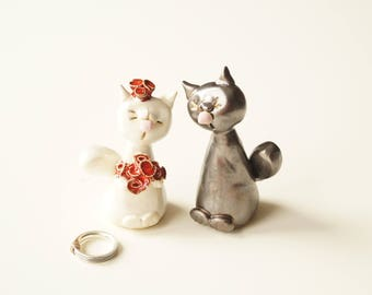 Wedding Cake Topper, Cat Cake Topper, Ceramic Cake Topper, personalized topper
