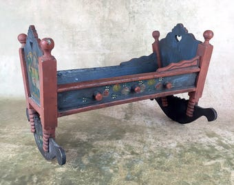 Vintage folk art doll size rocking bed, painted doll cradle, miniature bed
