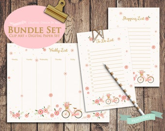 Weekly Planner, Checklist, To Do List, Shopping List, Plain Notepad, Digital Notepad, Printable, Digital Planner, Flower, Bicycle Bundle Set