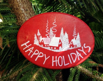 Happy Holidays wood sign, Christmas decoration, Christmas wall decor, Personalized Christmas gift.