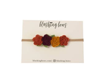 Felt Flower Headband, Felt Flower Crown- Autumn Leaves