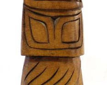 Native American Pacific Northwest Coast Carved Wood Totem Pole 8 Inches Signed