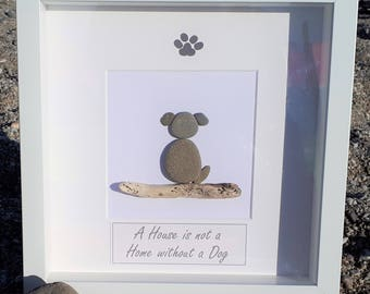 A House is not a Home without a Dog - Cornish Pebble Art Picture