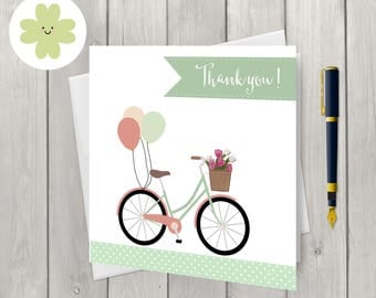 Vintage bike thank you cards x 8, balloons and flowers, thanks card set, blank inside cards,