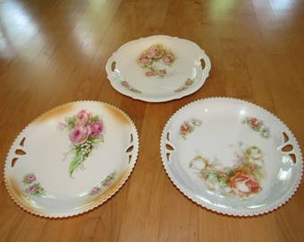 Vintage 3 Set Silesia Germany Home Decor Plates