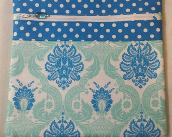 Beautiful blue and light green floral design project bag