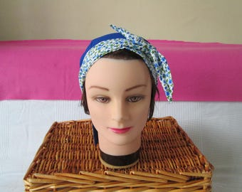 Scarf, turban, chemo, pirate headband blue women's plain and floral