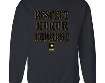 U.S Army Crew Neck Sweatshirt Army Honor Courage Respect Patriotic