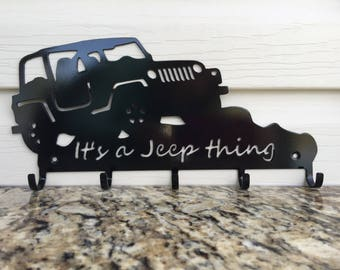 "2 Door Jeep key holder - ""It's a Jeep thing"", black matte powder coat"