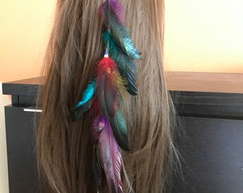Feather hair clip, feather extension, festival hair extension clip,tribal hair clip, bohemian, hair accessories, edm, burning man