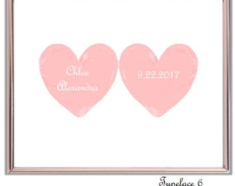 Add Name and Birth Date to Hearts. Personalise Hearts with Name and Birth Date. Personalise Hearts. Customise Nursery Hearts. Girl's Nursery