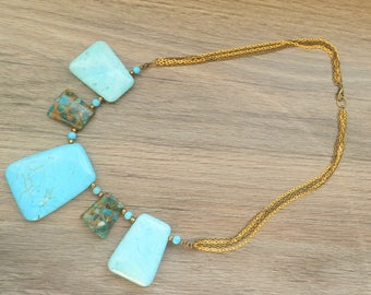 Turquoise and Copper Stone Necklace A12668