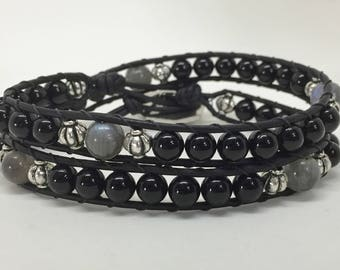 Onyx and Labradorite leather wrap