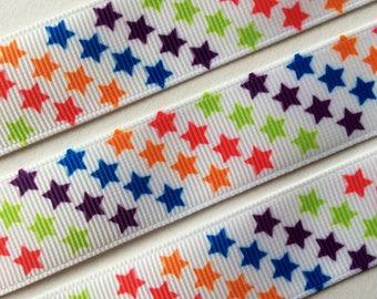2 meters of Ribbon fancy star grosgrain 22mm