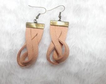Beige braided suede earrings
