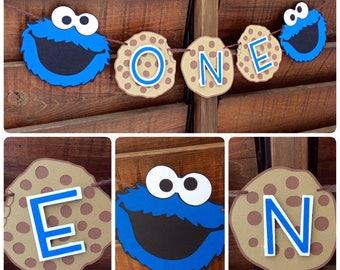 "Sesame Street Cookie Monster "" ONE"" banner /Happy 1st Birthday / Cookie Monster banner / blue  / Sesame Street / milk and cookies"