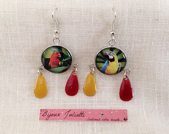 drop earrings, Parrot and sequin red and yellow