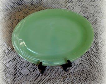 Vintage Fire King Jadite Platter, Anchor Hocking Jadite Platter