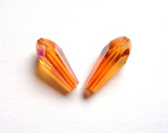 RARE! 4 thin beads drop tapered 14 x 6mm, glass faceted iridescent, orange hues