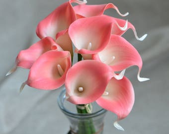 Pink Coral Calla Lilies Stems Real Touch Flowers For Wedding Bouquets Coral Silk Bridal Bouquets Wedding Centerpieces
