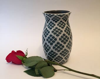 Blue and White Allover Patterned Vase, Handmade Pottery, Wheel Thrown,Great Gift,Functional Pottery, Ceramic Vessel, Home Decor, Medium Vase