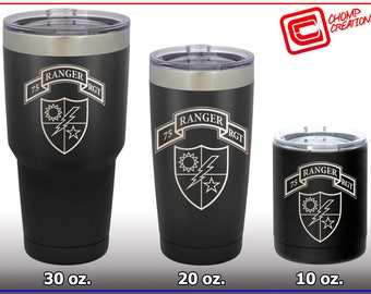 Engraved Stainless Steel Mug / Tumbler - U.S. Army Ranger - Custom Engraved with Your Name, Rank, Unit ... Choose your size.