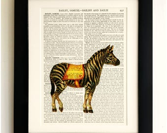 ART PRINT on old antique book page - Zebra, Vintage Upcycled Wall Art Print, Encyclopaedia Dictionary Page, Fab Gift!