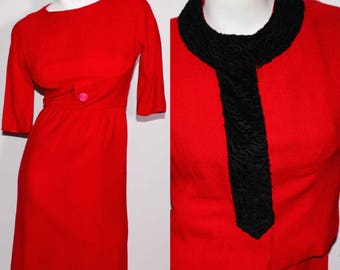 50's Vintage 2 Piece Red Wiggle Dress with Jacket