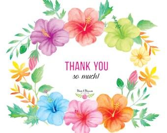 Watercolor Hibiscus Flower Clip Arts