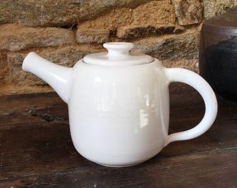 Ceramic teapot. 1 litre teapot. White teapot. Stoneware teapot. Birthday gift.