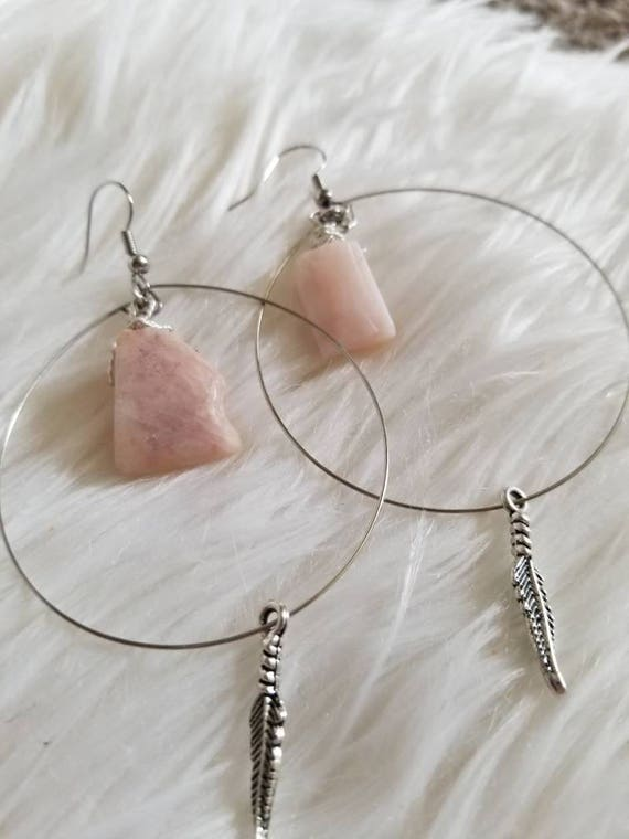 Reiki Attuned Peruvian Opal Hoop Earrings