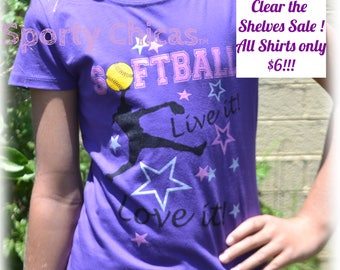 Girls Softball Shirt, Live it, Love it  Softball T Shirt, Softball Bling Shirt w/ Shimmer Letters & Stars, Softball Mom, Kids Softball Shirt