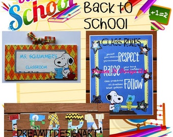 Peanuts Triple Threat Back to School Combo -- Teacher Sign+Class Rules Poster+Set of 5 Wooden Letters