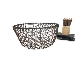 Large Wire Basket - Vintage Industrial Wire Basket - Heavy Gauge Wire Basket - Industrial - Rustic - Farmhouse - Nautical Basket - Primitive