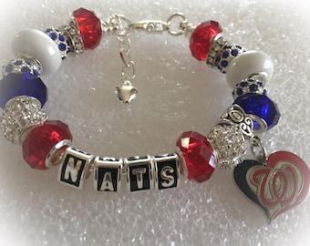 Washington  Nationals inspired jewelry bracelets