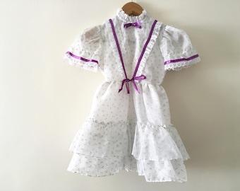 Vintage Girls Lavender Flower Dress - Size 6 - ILGWU