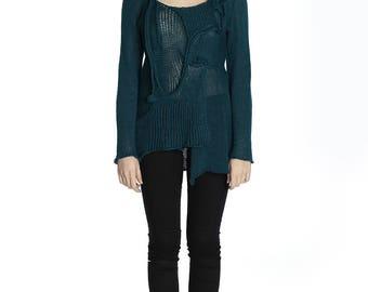 Boho aqua coloured linen sweater, M size.