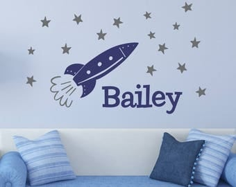 Large Rocket Decal Space Decal Boys Wall Decal Sk Rocket